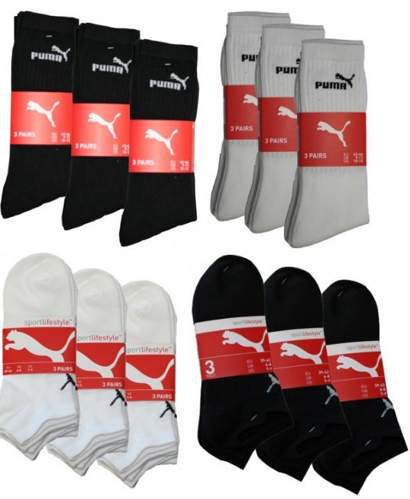 [ebay Wow] Sneaker o. Sportsocken: 9 Paar Puma in schwarz, weiss, oder Mix (39 42, 43 46) inkl. Versand 19,90€