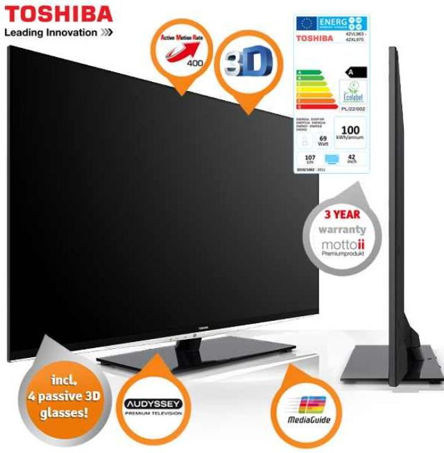 [iBOOD] 3D TV Toshiba 42 Zoll (Full HD, 400 Hz AMR, SMART TV) inkl. Versand und 4 3D Brillen 708,90€