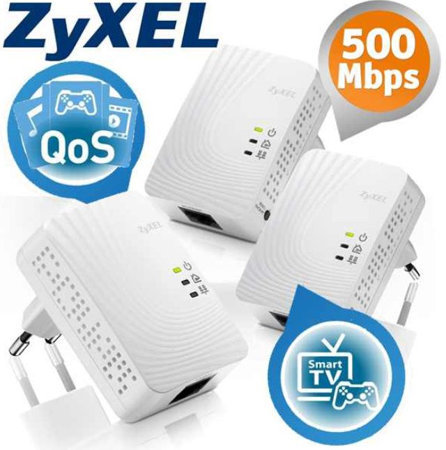 [iBOOD] Mini Powerline Ethernet Adapter: 3er Set ZyXEL PLA4201 mit 500Mbps, inkl. Versand 55,90€