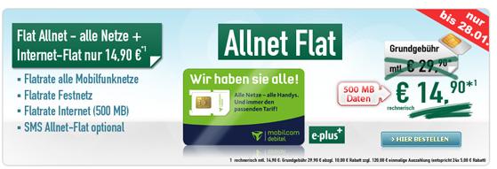 [Handybude] Update! Allnet Flat ohne Handy nur 14,90€ monatlich.