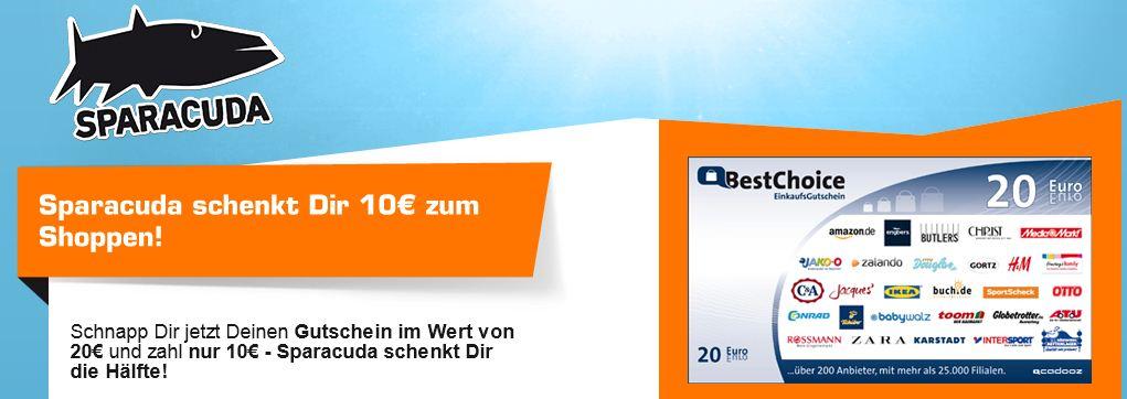 [Sparacuda] 20€ BestChoice Gutschein für nur 10€ dank Anmeldung!