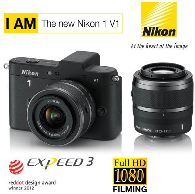 [iBOOD] 10MP Systemkamera: Nikon 1 V1 Set mit 10 30 mm und 30 110 mm Objektiv, inkl. Versand 405,90€