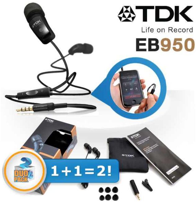 [iBOOD] In Ears: Duopack TDK EB950 Kopfhörer inkl. Versand 35,90€