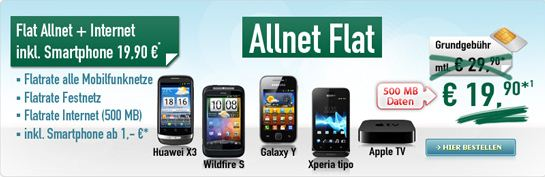 [Handybude] Allnet Flat mit Handy ab 1€(!) nur 19,90€ monatlich.
