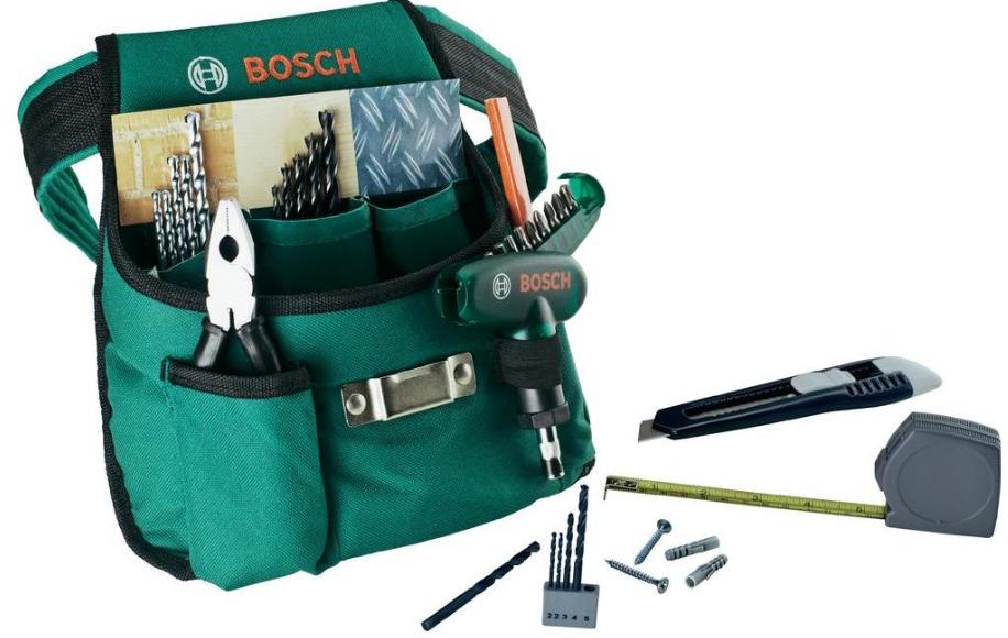 Bosch Promoline, Werkzeug Gürteltasche inklusive 66 Teile Zubehör für 14,99€