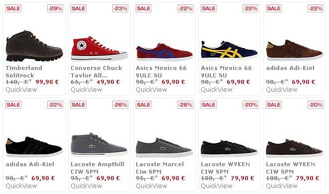 [sidestep] Sale: Marken Sneaker (Nike, Vans, Asics, Converse, Levis u.a. inkl. Versand ab 19,90€