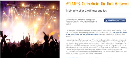 [Amazon] 1€ Gutschein für MP3s über facebook