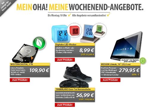 [MeinPaket] OHA Deals zum Wochenende   z. B. 10 Medion Tablet und 3TB Festplatte