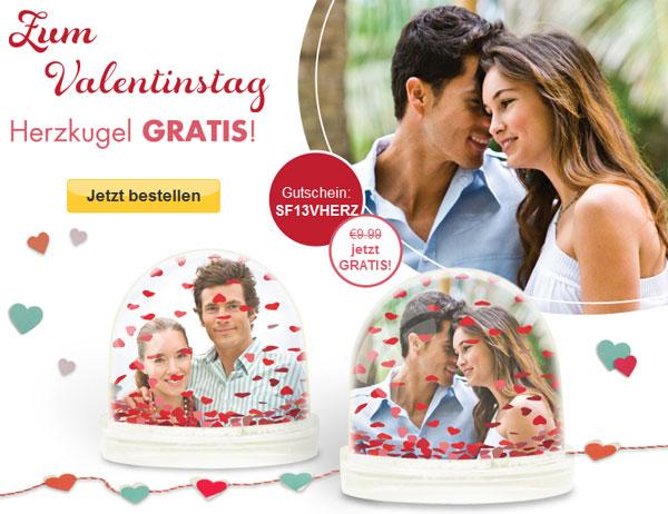 [snapfish] Valentinstag: personalisierte Herzkugel für 0€ + 4,95€ Versand statt 14,94€