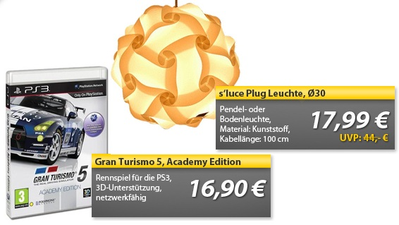 OHA Deals! (Gran Turismo 5 Academy Edition (PS3) & S'LUCE Pendel  oder Bodenleuchte)