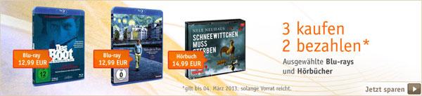 [Buch.de] Blu ray Aktion: 3 Filme zum Preis von 2