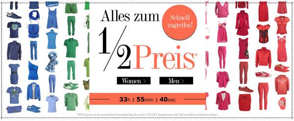 50% Rabatt auf das gesamte Sortiment bei dress for less + 10€ Gutschein für Newsletteranmeldung