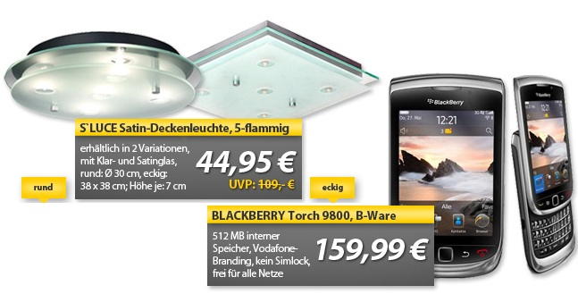 OHA Deals! (BlackBerry 9800 Torch Vodafone (B Ware) & S'LUCE Satin Deckenleuchte)