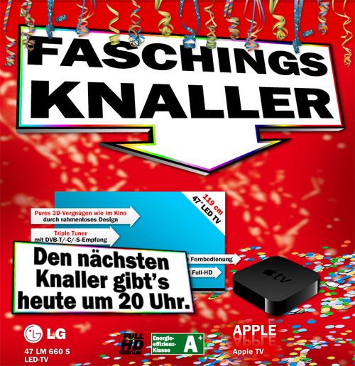 [MediaMarkt] Faschingsknaller ab 20 Uhr: LG 47LM660S 749€ und AppleTV3 für 79€!