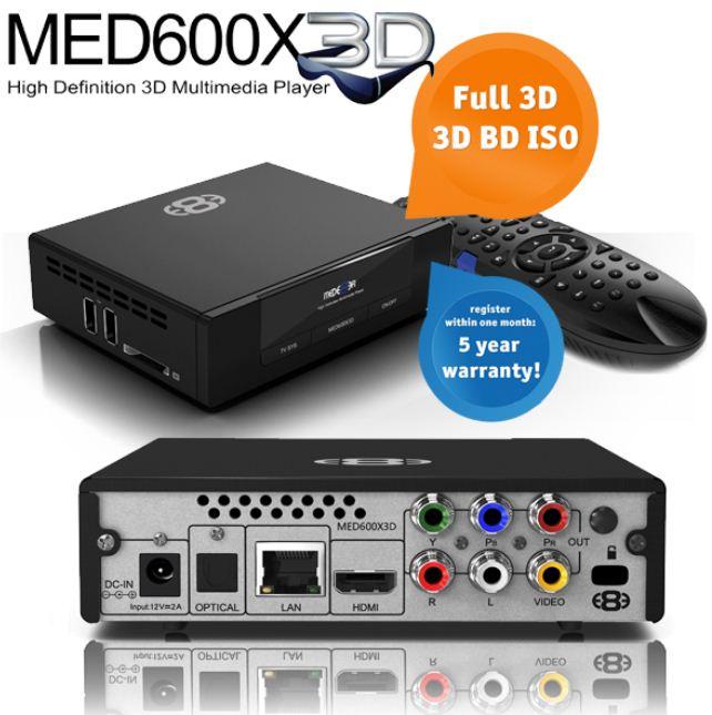 [iBOOD] 3D Media Player: Mede8er MED600X3D, inkl. Versand 105,90€