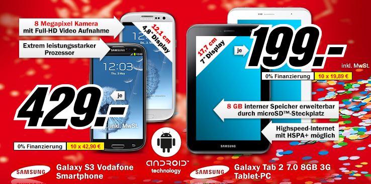 [MediaMarkt] Faschingsknaller ab 20 Uhr: Galaxy S3 429€ & Galaxy Tab2 7.0 (8GB, 3G) 199€