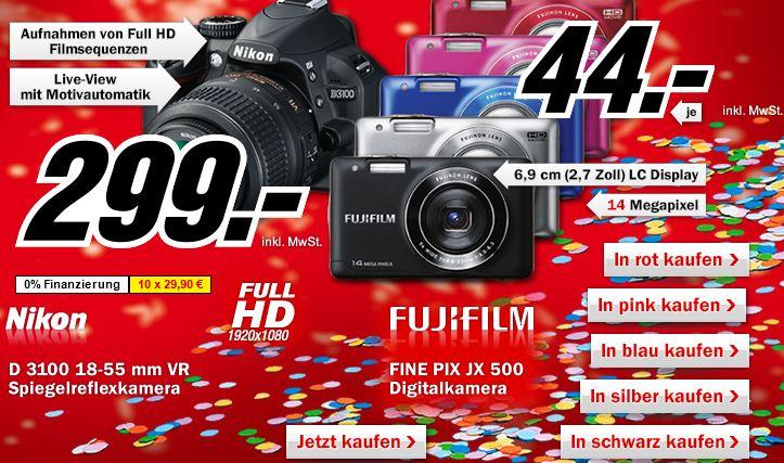 [MediaMarkt] Faschingsknaller seit 20Uhr: SLR Nikon D3100 299€ & 14MP Digicam Fine Pix JX 500 44€