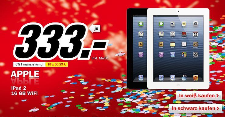 [MediaMarkt] Faschingsknaller ab 20Uhr: Apple iPad 2 mit 16GB und WiFi, Preis 333€