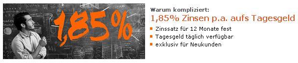 [Cortal Consors] Nur noch heute! Tagesgeld: 1,85% Zinsen fest für 12 Monate bei Cortal Consers