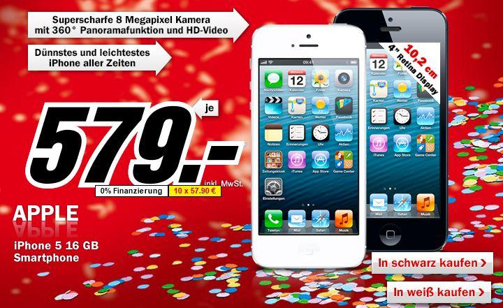 [MediaMarkt] Ab Sofort! Apple iPhone 5 weiß oder schwarz für nur 579€!