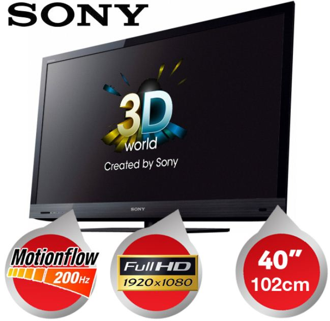 [iBOOD] 40er 3D TV: Sony 102cm (Motionflow XR 200, FullHD, USB Aufzeichnung, Internet Video und Skype) inkl. Versand 585,90€