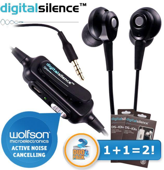 [iBOOD] Kopfhörer mit Mikrofon: Duopack Digital Silence DS 101A mit Rausch Unterdrückung, inkl. Versand 20,90€