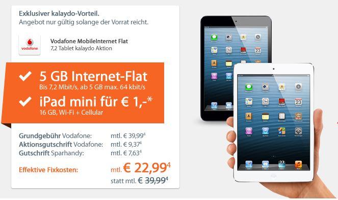 iPad mini 16GB mit 4G mit 5GB Daten Vodafonvertrag nur 22,99€ montl.!