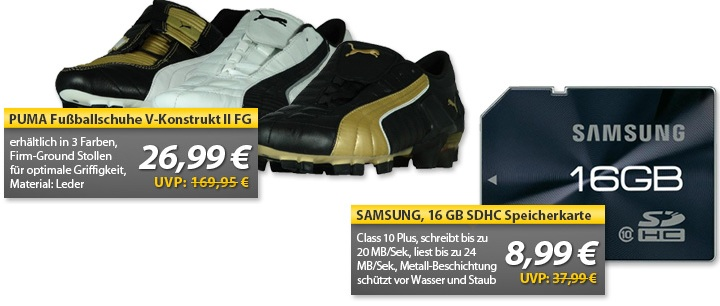 OHA Deals! (Puma V Konstrukt Fussballschuhe & Samsung 16GB SDHC Class 10 Plus)