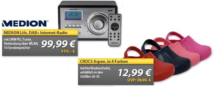 OHA Deals! (MEDION Life DAB+ Internet Radio & CROCS Aspen Kinderschuhe)