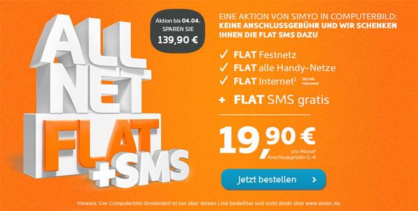 [simyo] Allnet Flat mit SMS  und Datenflat für 19,90€ monatlich