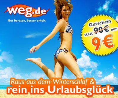 Wieder da! 90€ Gutschein auf Reisen auf weg.de für 9€ + 25€ Gutschein für Newsletteranmeldung