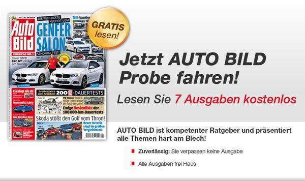 Kostenlos! 7 Ausgaben der Auto Bild gratis testen