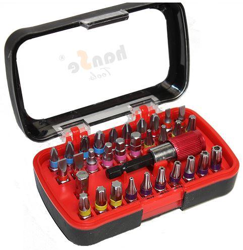 32 teiliges Bitsortiment mit Box, Schnellwechsel Bithalter in S2 Stahl, inkl. Versand 8,95€