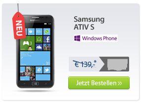 [Update] Knaller! Samsung Ativ S nur 1€ mit MoWoTel Tarif für 9,95€/Monat