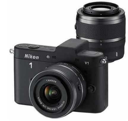 Nikon 1 V1 Systemkamera Set mit 10 30 mm und 30 110 mm Objektiv weiß, inkl. Versand 389€