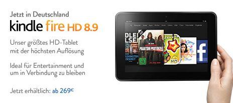 Tipp! Amazon Kindle Fire HD 8.9 Tablet inkl. Versand ab 269€