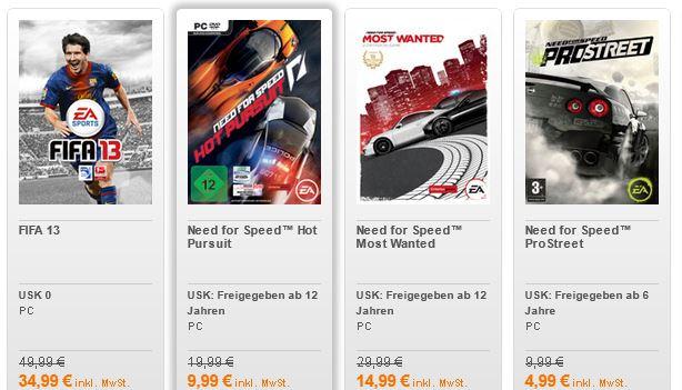 bis zu 50% Rabatt auf familienfreundliche Spiele (FIFA13, NEED FOR SPEED, uavm.) !