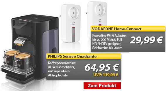Update! Powerline Adapter mit 200Mbit/s & Philips Senseo Quadrante   OHA Deals von MeinPaket