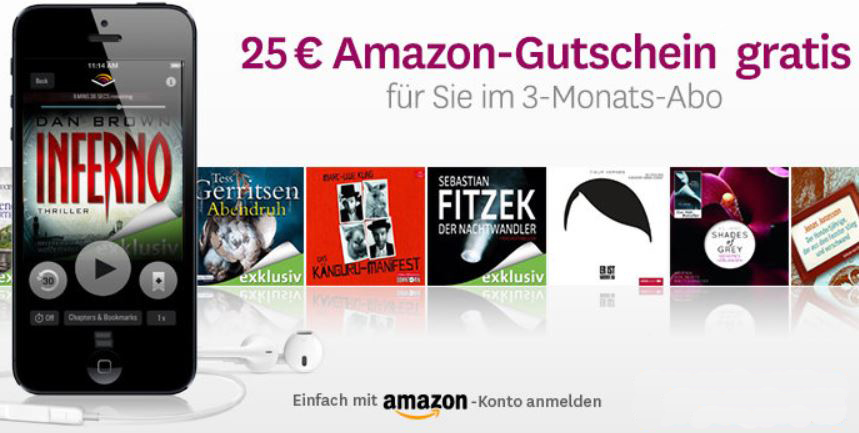 3 monate audible inkl 3 h rb cher dank 25 amazon gutschein f r effektiv 4 85 update. Black Bedroom Furniture Sets. Home Design Ideas