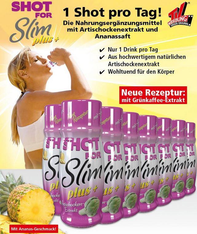 Original SHOT FOR SLIM Plus+ Ananas Artischocken Diät Drink 14x60ml für 14,99€